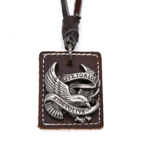 "Brummen - Men's Genuine Leather Necklace ""Live To Ride"" Fashion Accessory - Brummen Store"