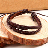 Men's Stylish Leather Double-Braced Braided Bracelet - Brummen Store