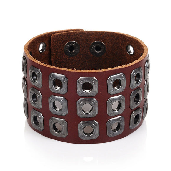 Men's Brown Stud Rocker Leather Bracelet Cuff - Brummen Store