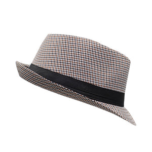 Brummen Men's Stylish Panama Plaid Fedora Hat - Brummen Store