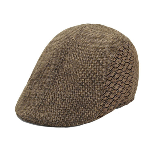The Calgary from Brummen is a stylish newsboy cap designed to lend a sophisticated air to any outfit. Fit for all seasons, this high-quality men's accessory is one-size, and made of linen with checkered sides. Offered in brown, light-tan or gray.