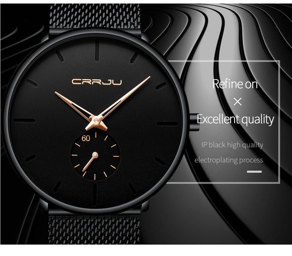 Brummen Men's Luxury Slim Mesh Steel Waterproof Watch