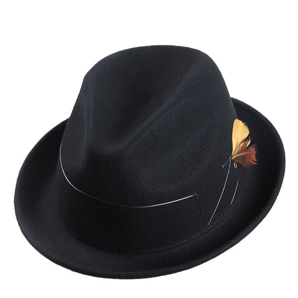 Brummen Men's Stylish Retro Felt Chap Hat with Feather - Brummen Store