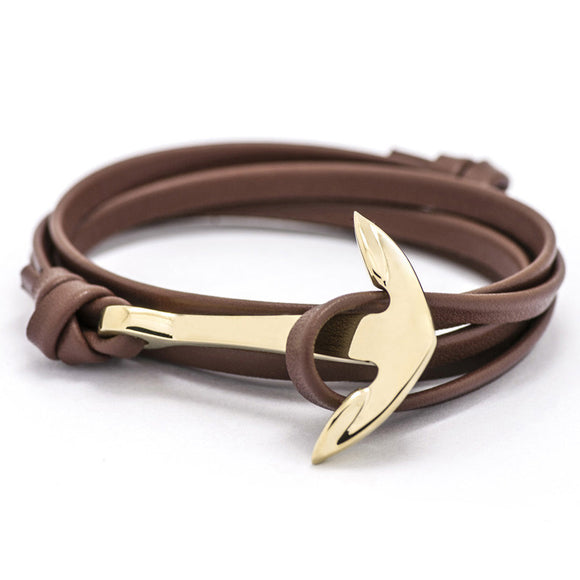 Gold Anchor Leather Bracelet - Brummen Store