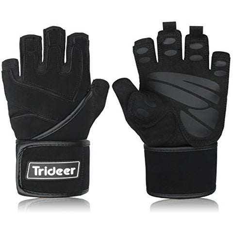 "Trideer Padded Anti-Slip Weight Lifting Gloves with 18"" Wrist Wraps, Pro Gym Gloves Support for Weightlifting, Cross Training, Gym Workout (Black, L (Fits 7.9-8.6 Inches))"