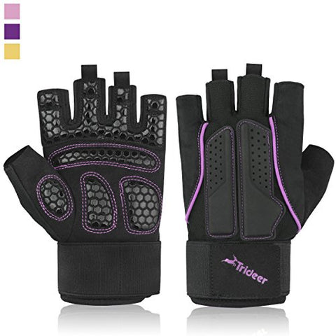 Trideer Double Protection Weight Lifting Gym Gloves, Microfiber Material and Silica Gel Padded Anti-slip Gloves for Extra Grip, Breathable & Ultralight Workout Gloves (Purple, S (Fits 6.3-6.7 Inches))