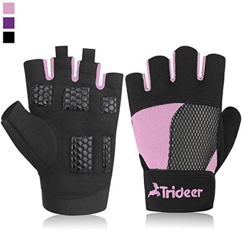 Women's Ultralight Weight Lifting Gloves, Trideer Gym Glove For Powerlifting, Cross Training, Bodybuilding, Breathable Lycra & Anti-slip Gel Pad (Pink, S (Fits 5.90-6.69 Inches))