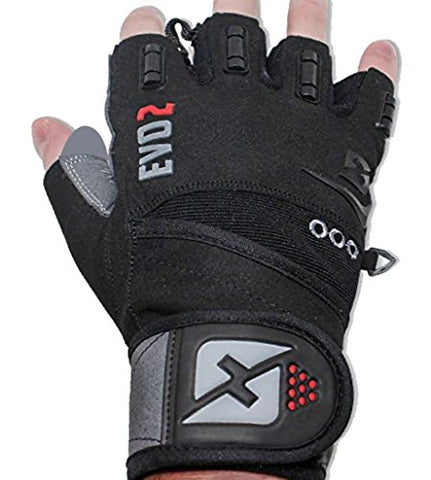2016 Evo 2 Weightlifting Gloves with Integrated Wrist Wrap Support-Double Stitching for Extra Durability-Get Ripped with the Best Body Building Fitness Crossfit and Exercise Accessories (XL)