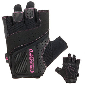 Contraband Pink Label 5137 Womens Weight Lifting Gloves w/ Grip-Lock Padding (PAIR) (Black, Small)