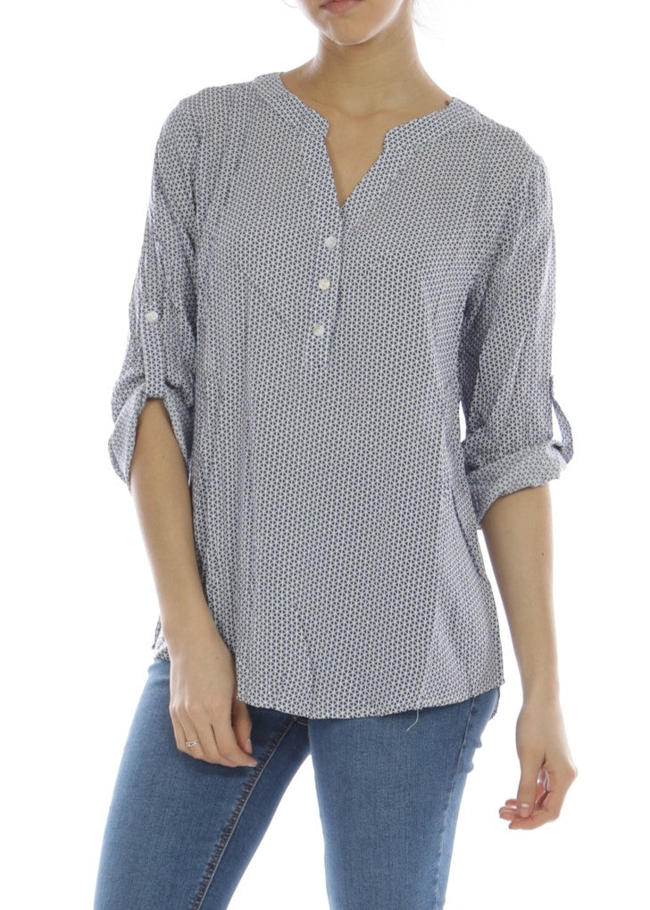 ISHA - Patterned Shirt - Blue