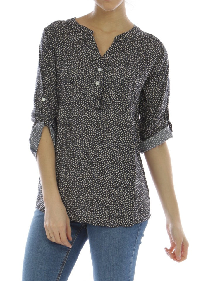 ALINA - Patterned Shirt - Blue