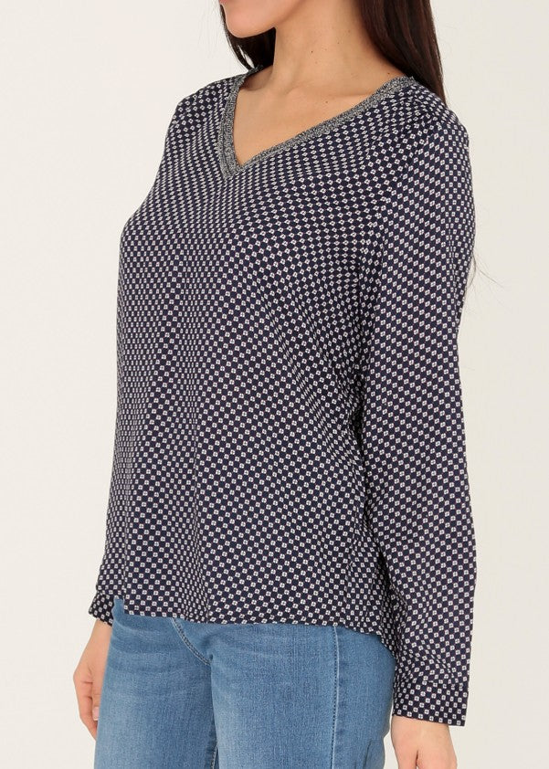 INDRE - Pattern V Neck Blouse