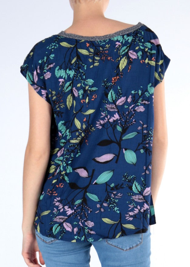 MAJA  - Capped Sleeve Blouse - Floral Blue