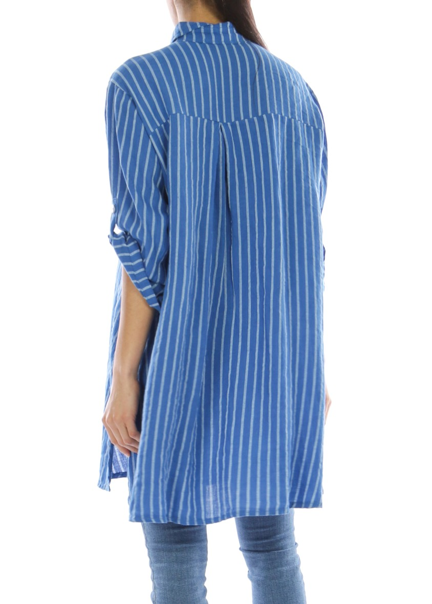 KARLA - Linen Striped Shirt - Cobalt