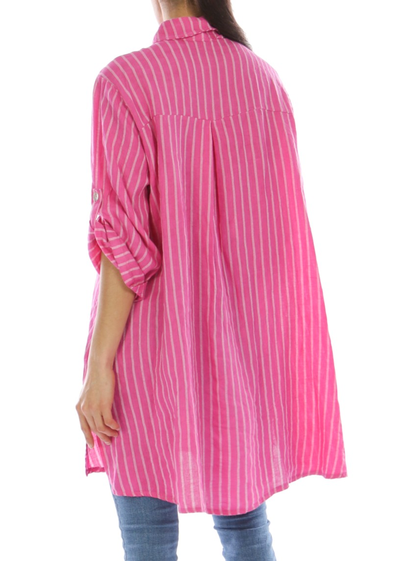 KARLA - Linen Striped Shirt - Fuscia