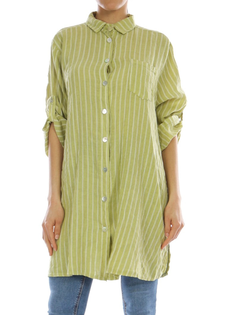 KARLA - Linen Striped Shirt - Anise