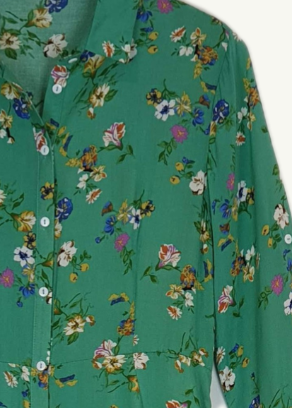 AGNES - Floral Summer Dress - Green