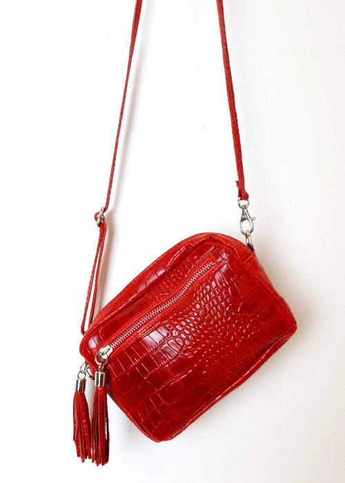 MATILDA - Small Leather Cross Over Bag - Red