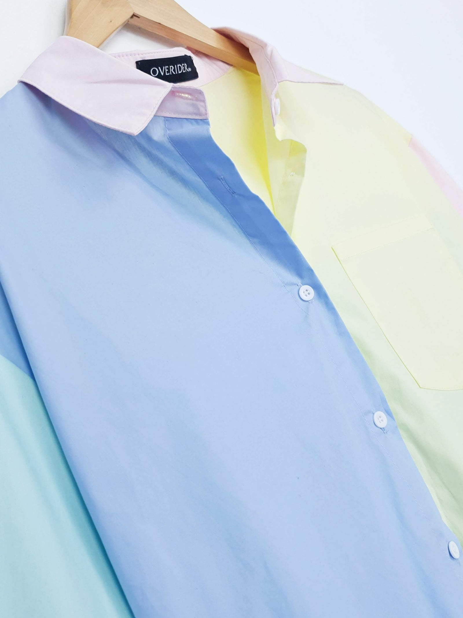 NEW | SASHA | Panel Boyfriend Shirt | Blue/Yellow