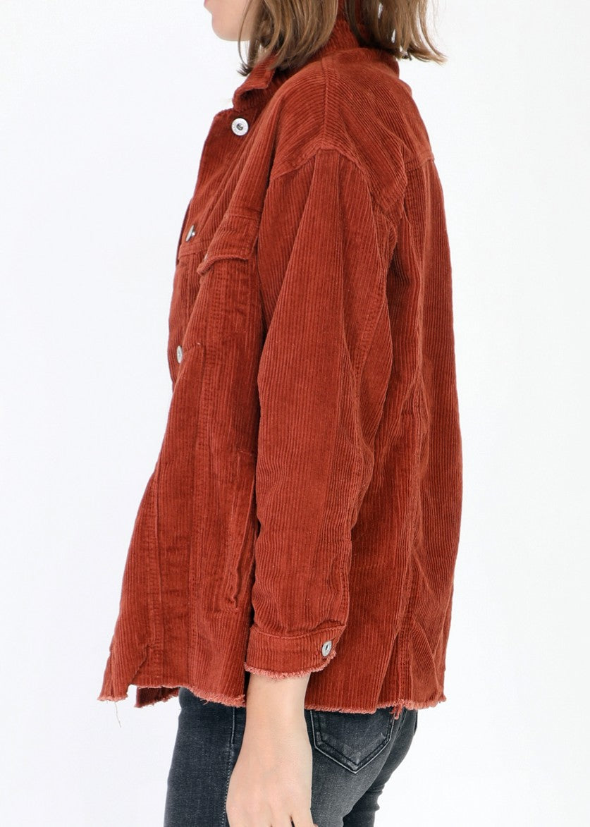 CLAUDIE - Corduroy Cotton Jacket - Clay