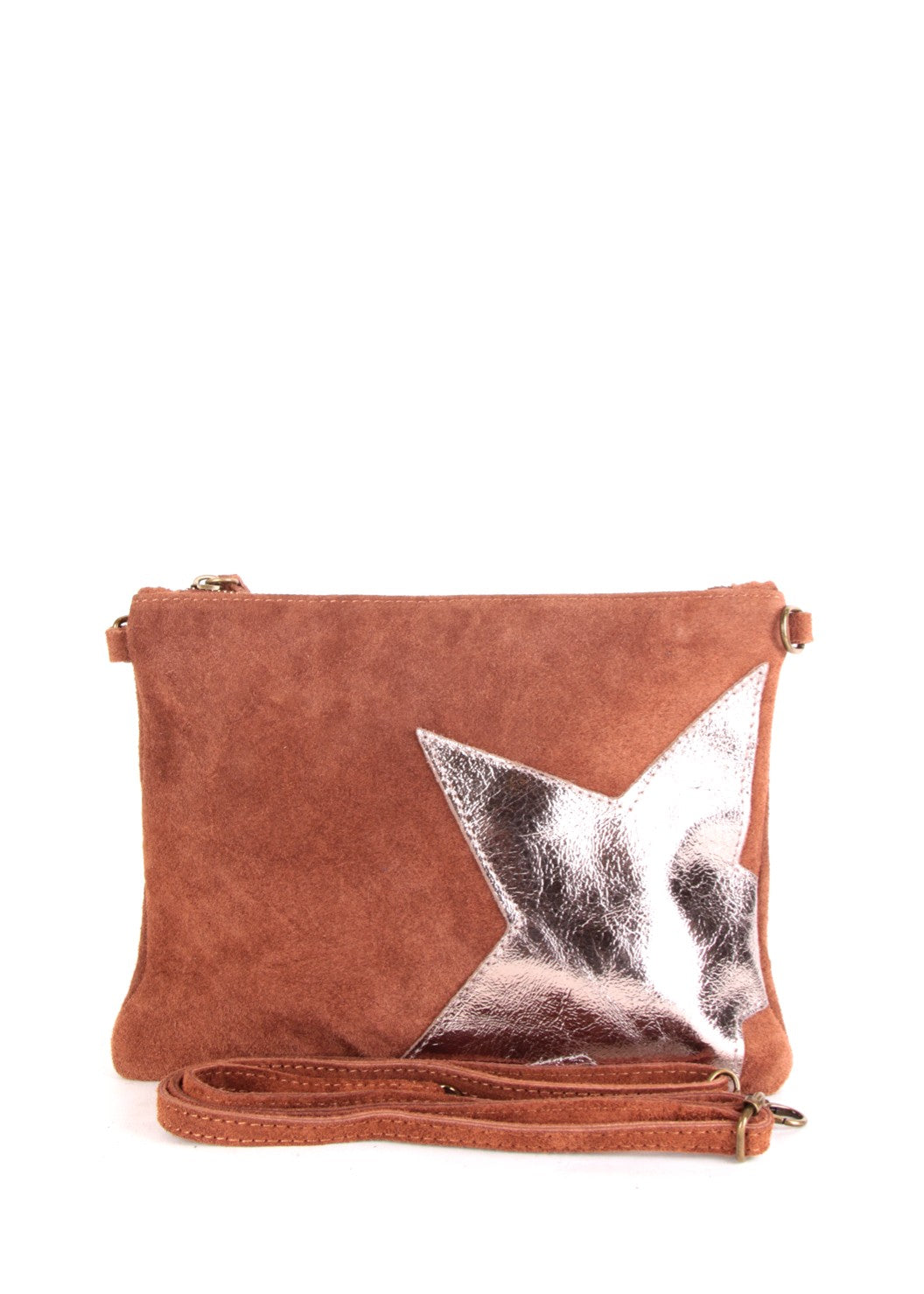 STELLA - Suede Leather Star Bag - Tan
