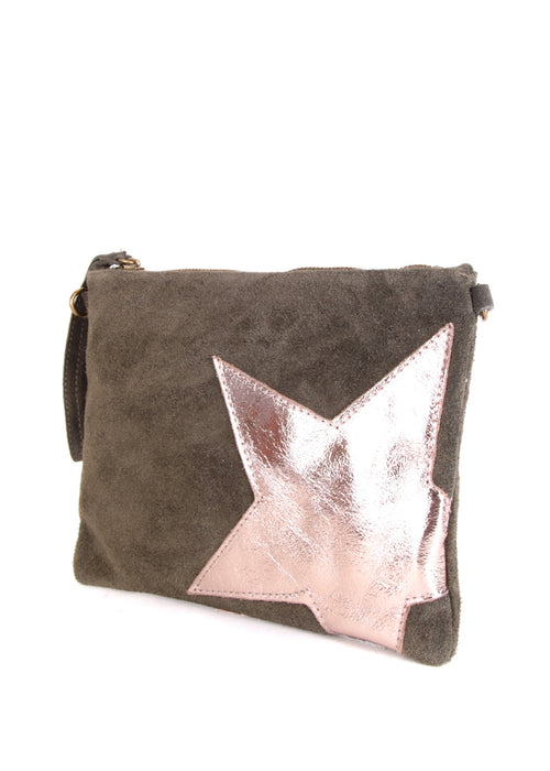 STELLA - Suede Leather Star Bag - Khaki