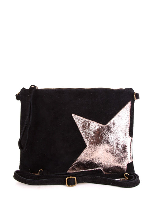STELLA - Suede Leather Star Bag - Black