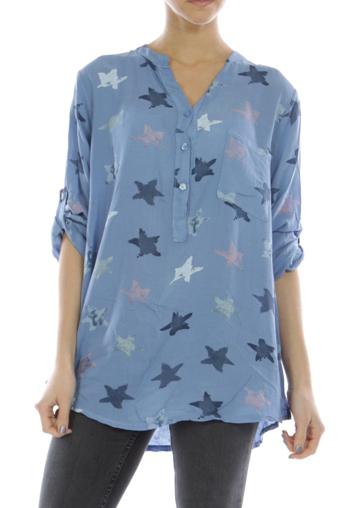 NELL - Star Splash Shirt - Blue