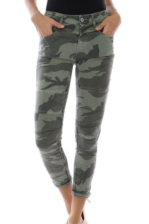 MELINA - Camo Pants with Biker Knee