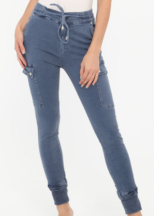 NATACHA  - Combat  Pocket Jeans  - Indigo Blue