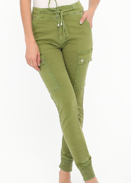NATACHA  - Combat  Pocket Jeans  -  Anise Green