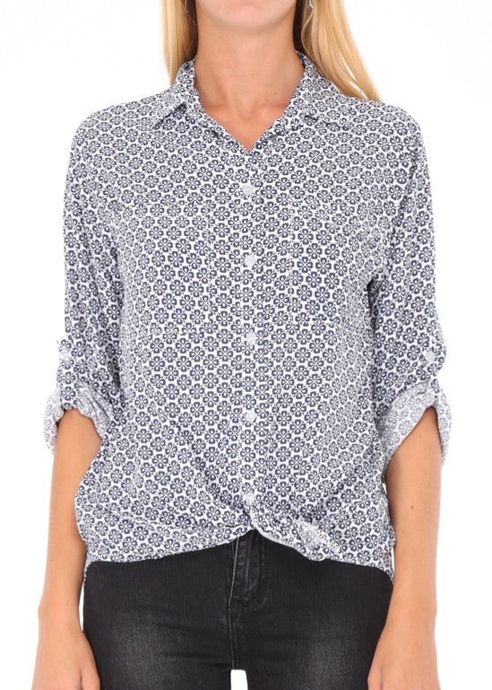AMELIE - Patterned Shirt - White