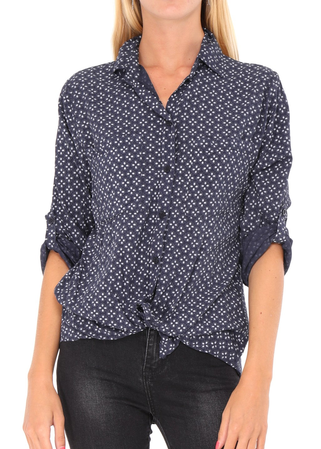 AMELIE - Patterned Shirt - Navy