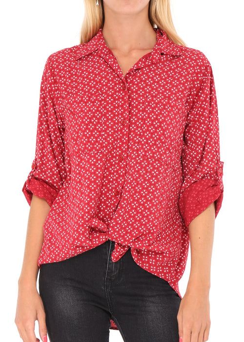 AMELIE - Patterned Shirt - Raspberry