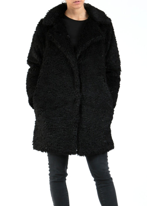 ALINA - Fluffy Borg Coat - Black