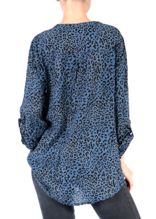 SANNE - Animal Print Top - Blue