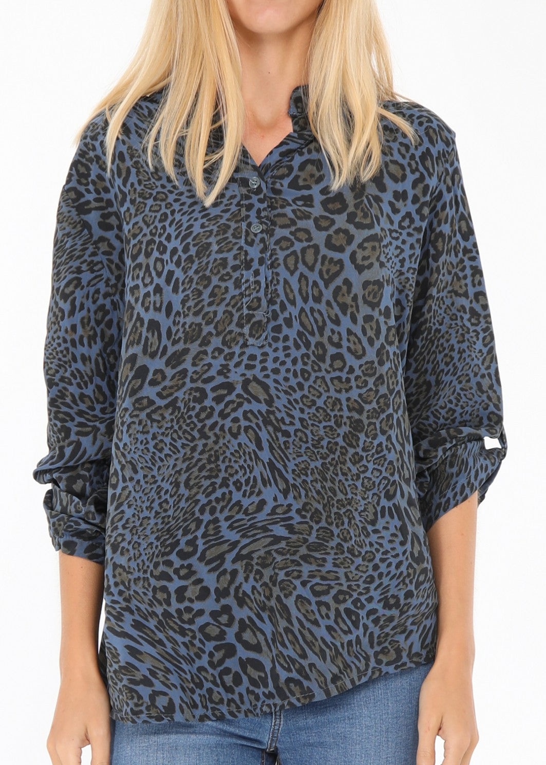 JOLIE  - Animal Print Shirt - Navy