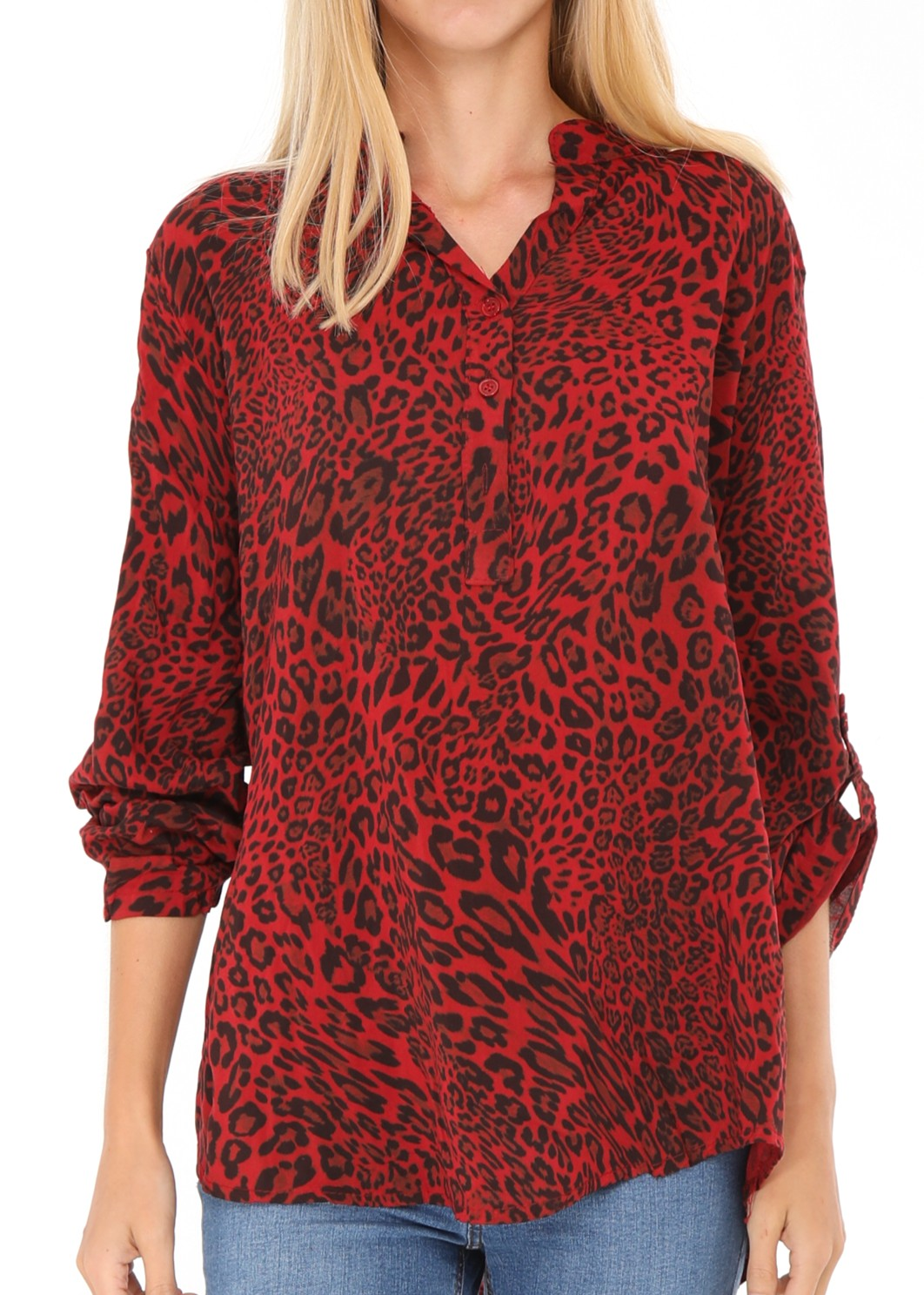 JOLIE  - Animal Print Shirt - Red