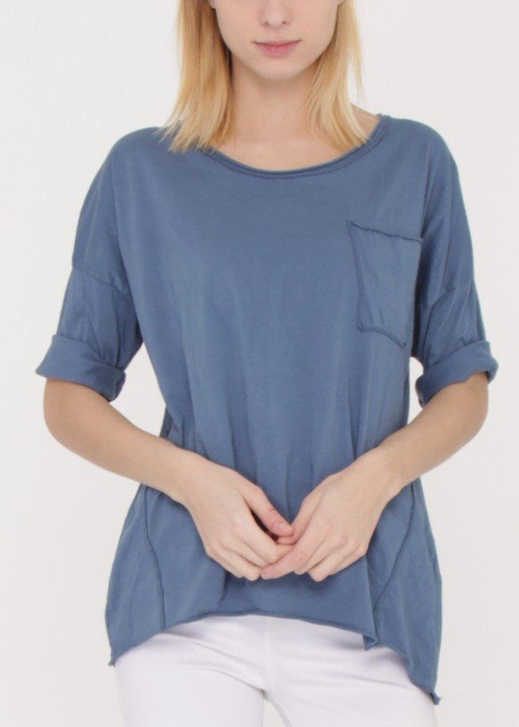 BETH - Boxy Tee - Blue | Black | White