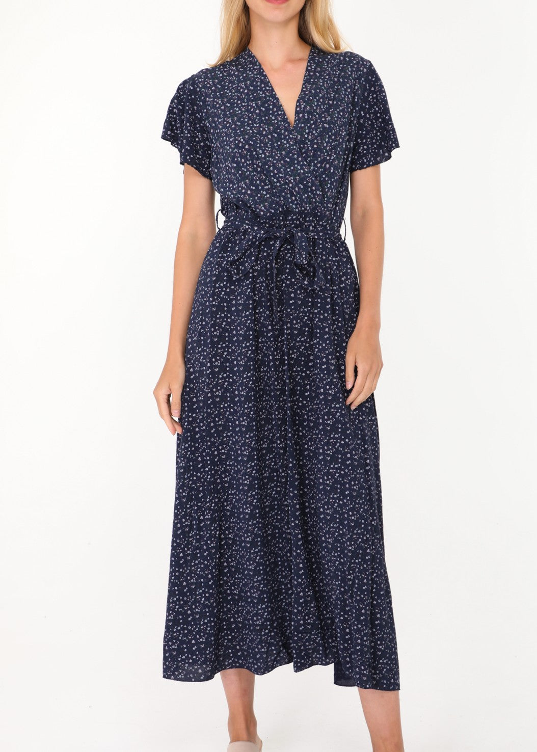 COLETTE - Floral Summer Dress - Navy
