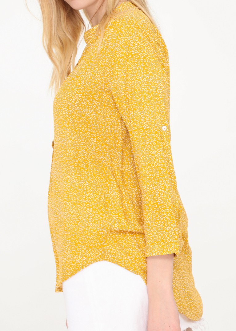 Lea - Floral Patterned Blouse - Ochre