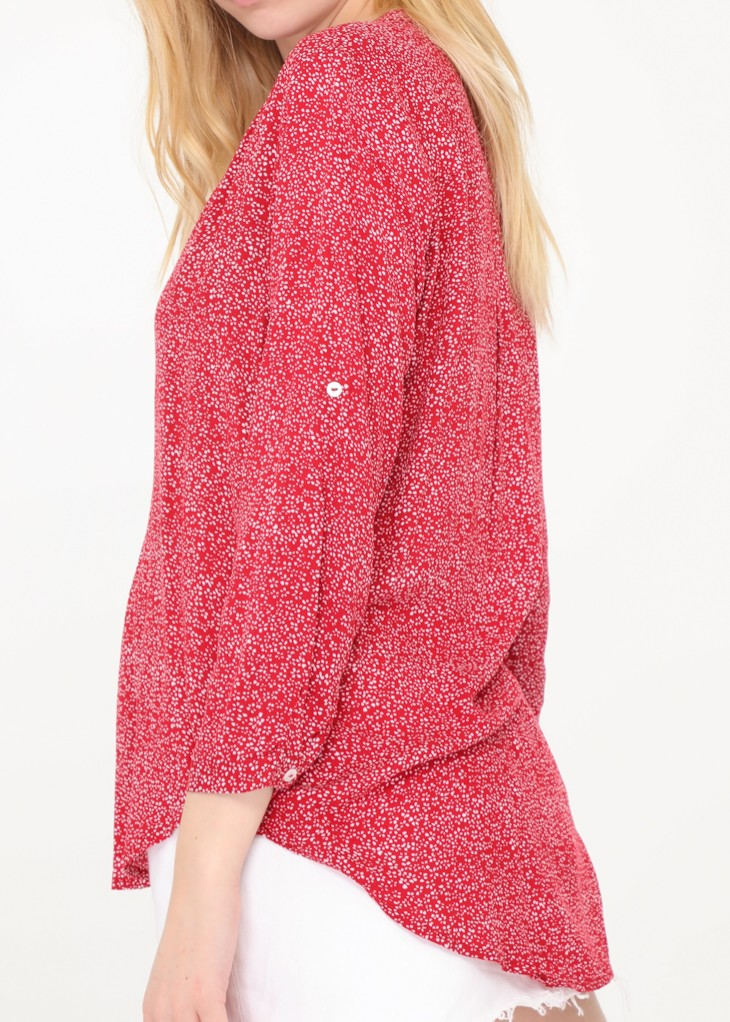 Lea - Floral Patterned Blouse - Raspberry