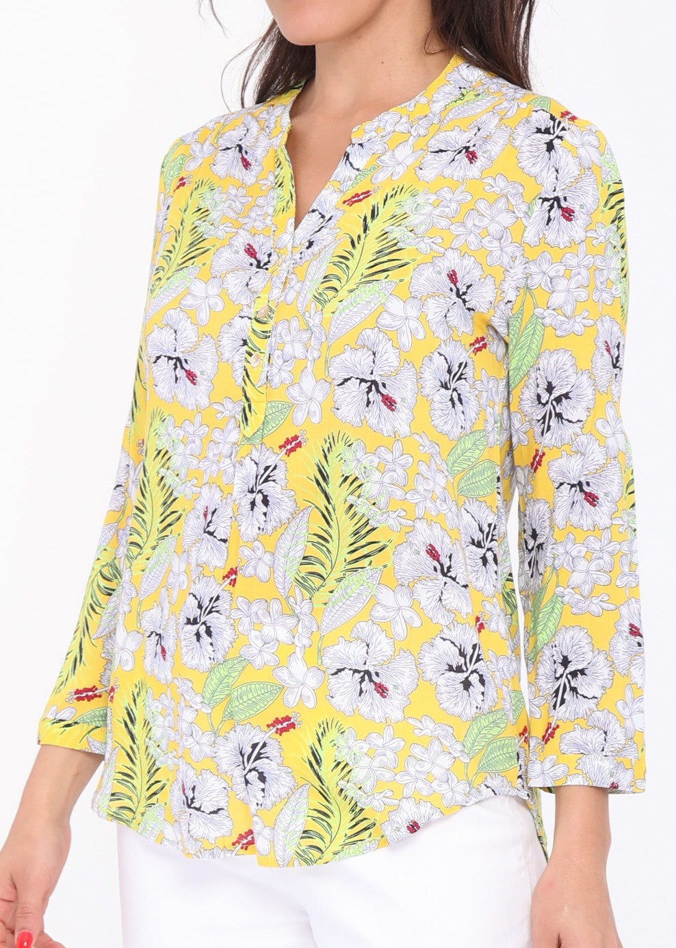 Laurene - Floral Patterned Blouse - Yellow