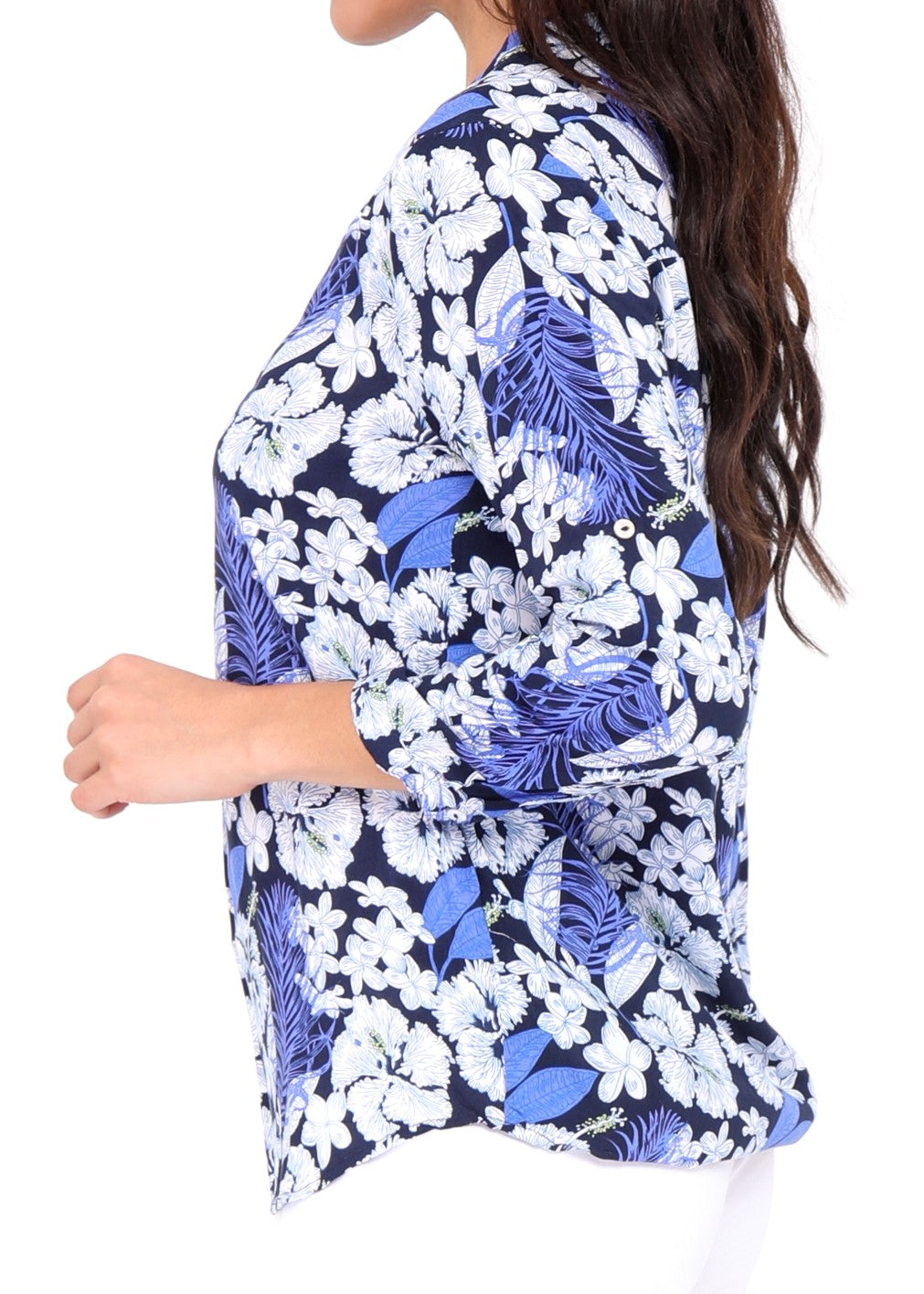 Laurene - Floral Patterned Blouse - Blue