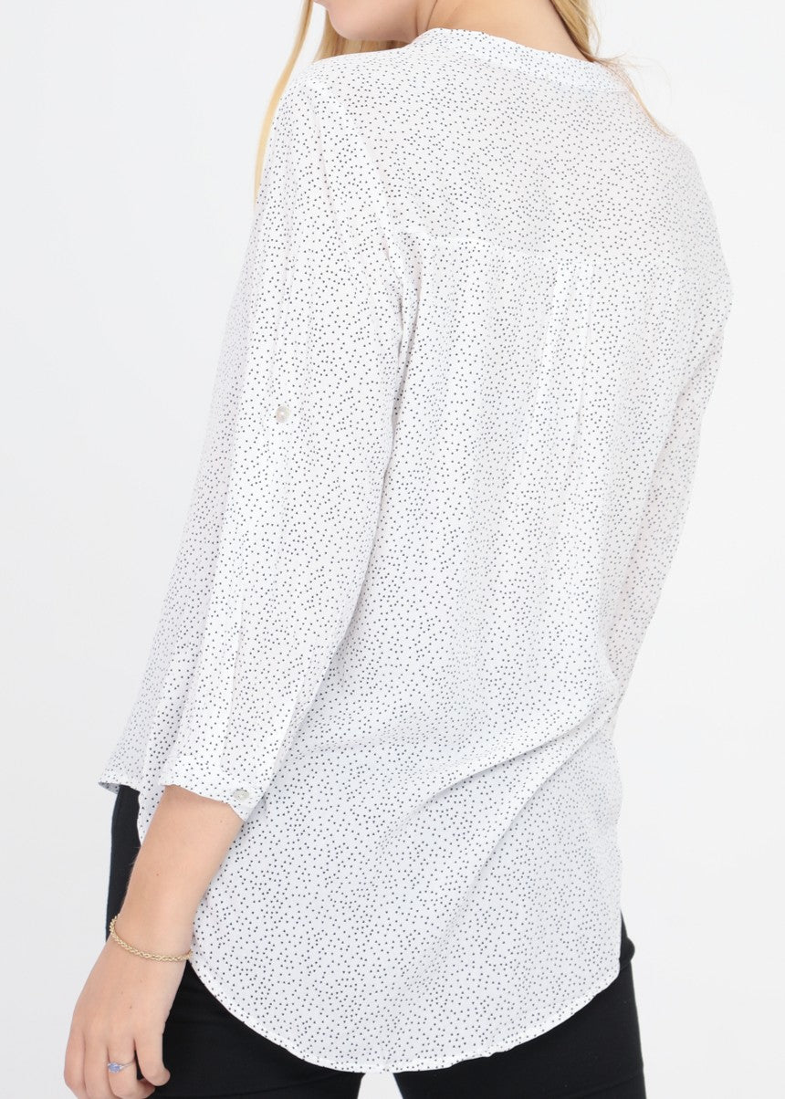 INES - Patterned Blouse - White