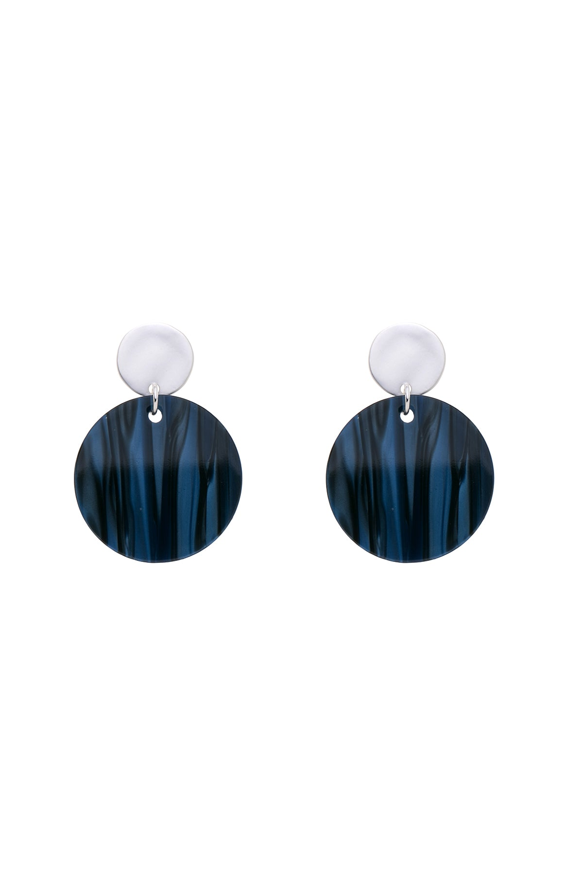 TILLI - Blue  Horn Disc Earrings