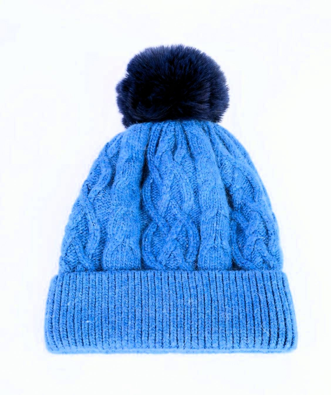 ANYA - Cashmere Bobble Hat - Powder Blue
