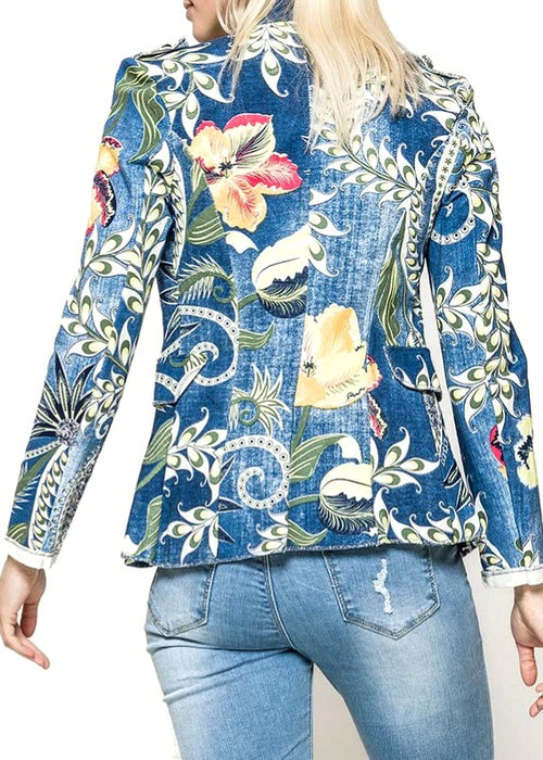 CALA - Floral Military Jacket - Blue