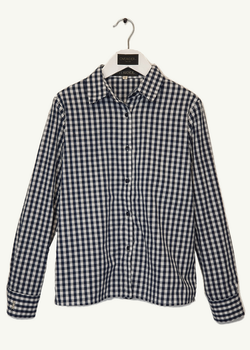 MARIE - Girls Gingham Shirt - Navy