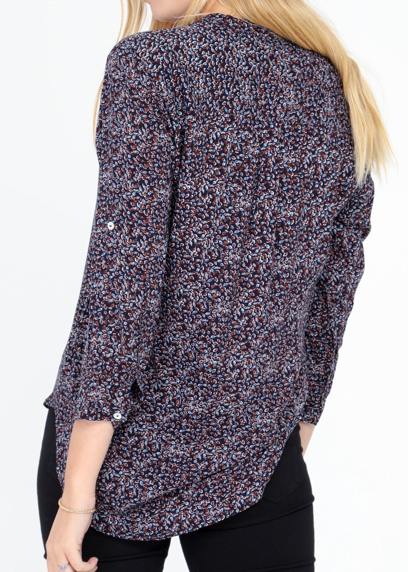 MARGAUX - Patterned Blouse - Navy